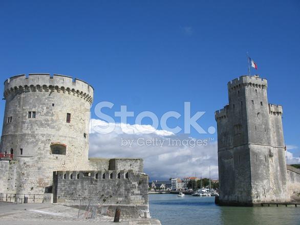 two towers guarding la rochelle harbour stock photos. Black Bedroom Furniture Sets. Home Design Ideas