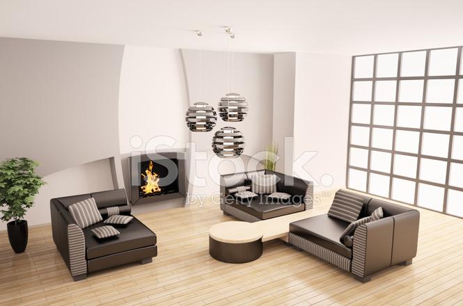 Modern interieur met open haard d stockfoto s freeimages