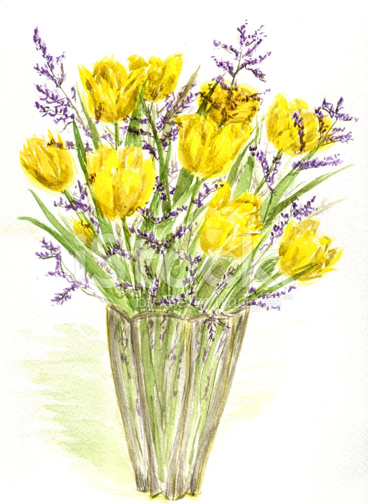 Botanische Schönheit Vase Mit Tulpen Und Limonium Stock Vector