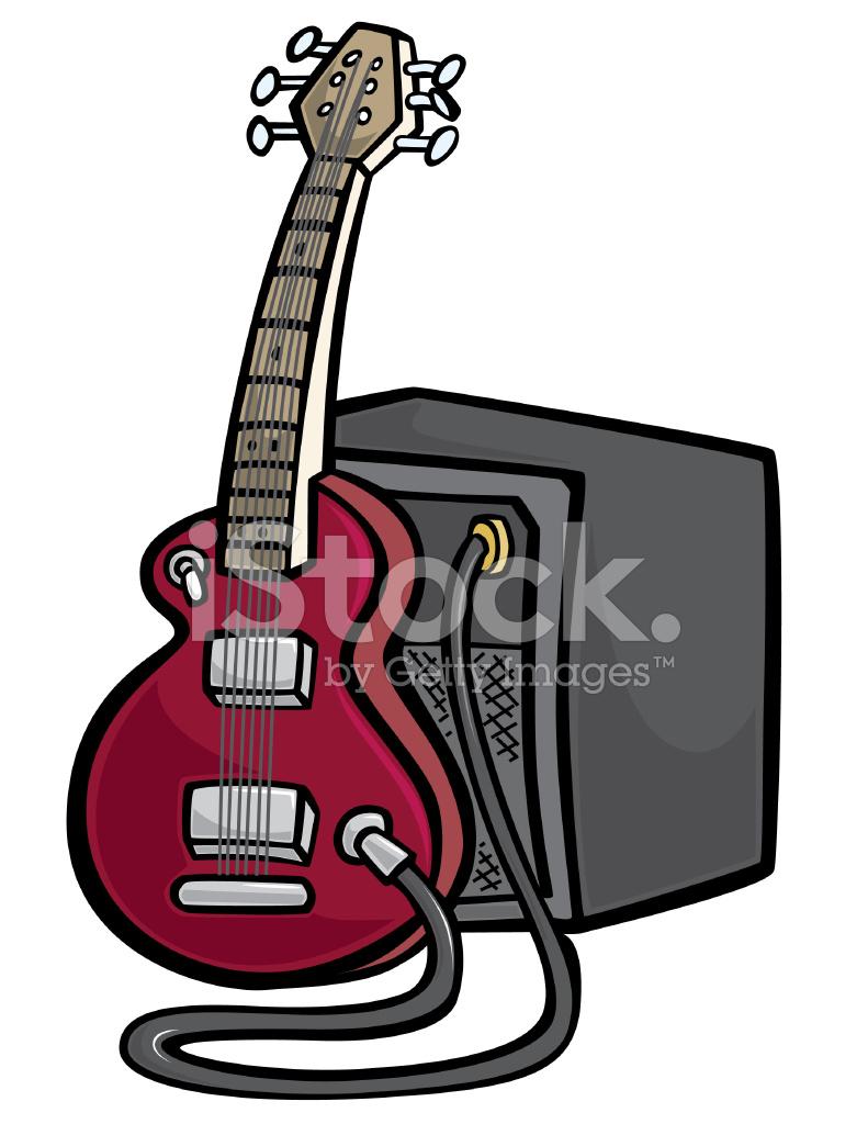 Guitarra De Dibujos Animados Amplificador Stock Vector