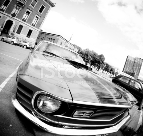 Front View Of Old American Muscle Car In Black White Stock Photos