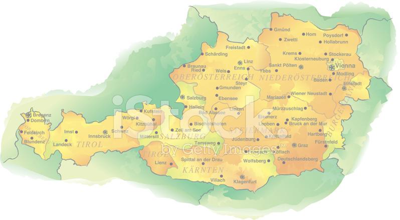 Akvarell Style Vektor Karta Over Osterrike Stock Vector