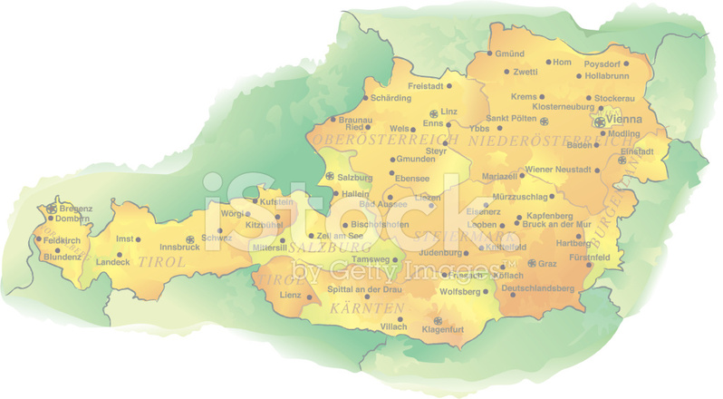 österrike karta Akvarell Style Vektor Karta Över Österrike Stock Vector  österrike karta
