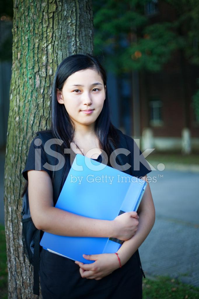 Asian Schoolgirl Outdoors