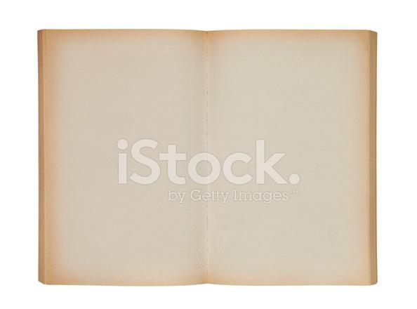 Livre Blanc Vieux Ouvert Avec Un Trace De Detourage Photos