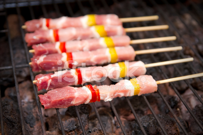 skewers on barbeque grill selective focus stock photos. Black Bedroom Furniture Sets. Home Design Ideas
