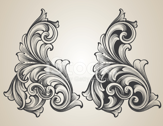 Intertwining Engraved Scrolls Stock Vector - FreeImages.com