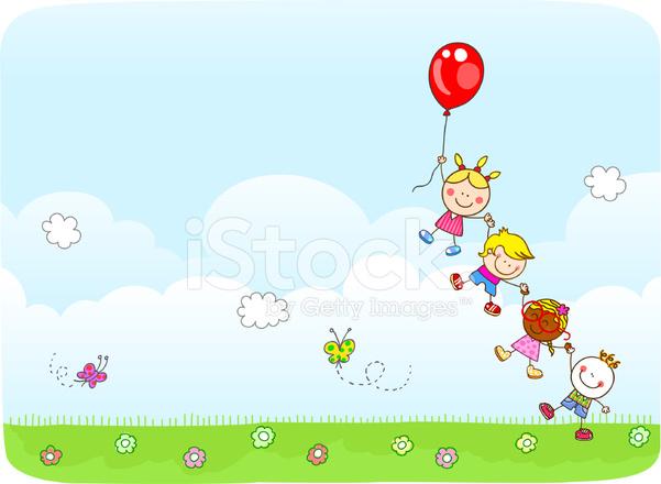 Ilustración De Dibujos Animados De Niños Volando Con Globos En La
