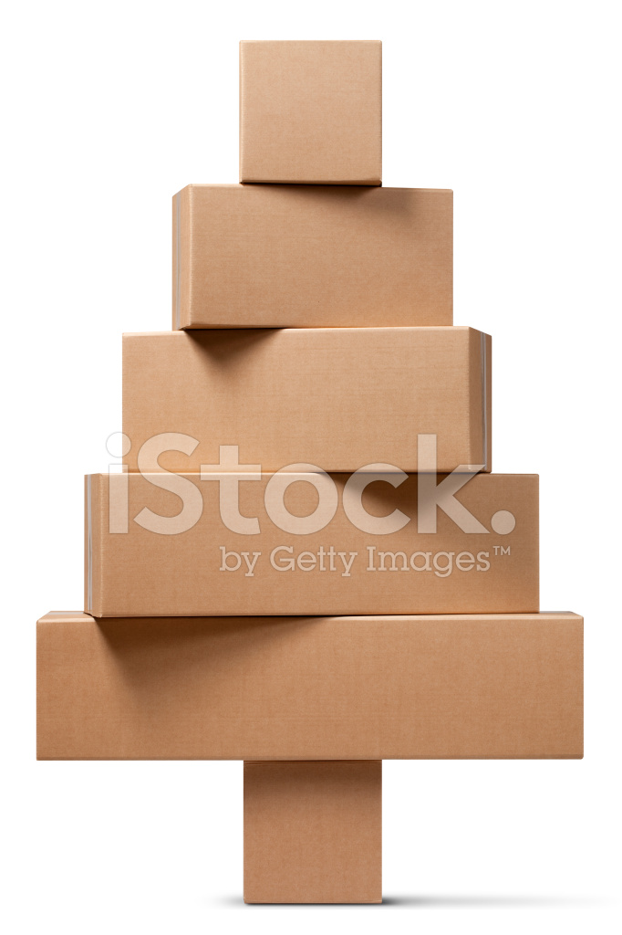 Cardboard Boxes IN The Shape Of A Christmas Tree Stock