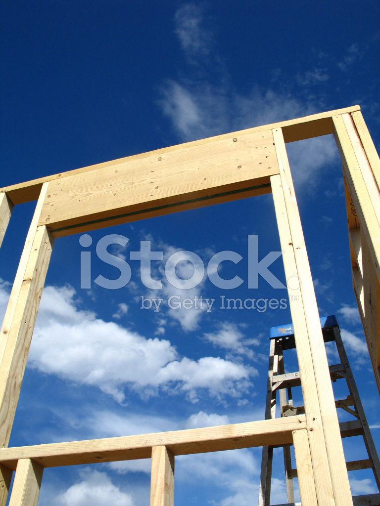 Construcción: Ventana Encuadre Con UNA Espectacular Vista Azul Cielo ...
