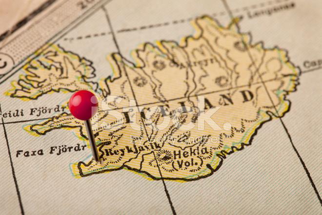 Island Och Reykjavik Karta Stockfoton Freeimages Com