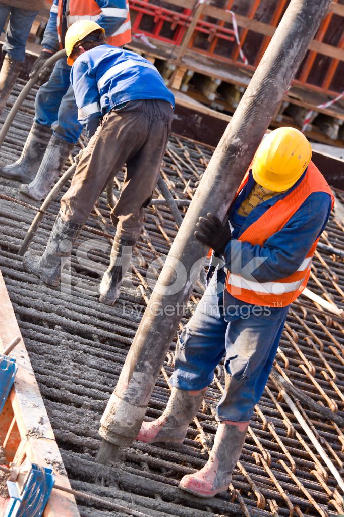 Arbeitnehmer Stiefel in der Baustelle Stockfoto, Bild