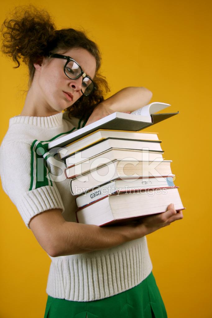 Nerd Girl Carrying Books Stock Photos Freeimages Com