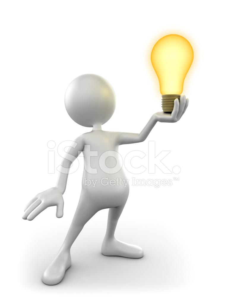 3d Man Holding Idea Lightbulb Isolated Clipping Path
