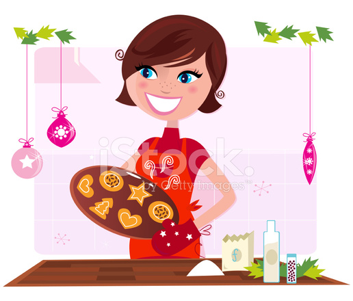 Mother Christmas Cartoon.Cooking Mother Preparing Christmas Cookies In Kitchen Stock