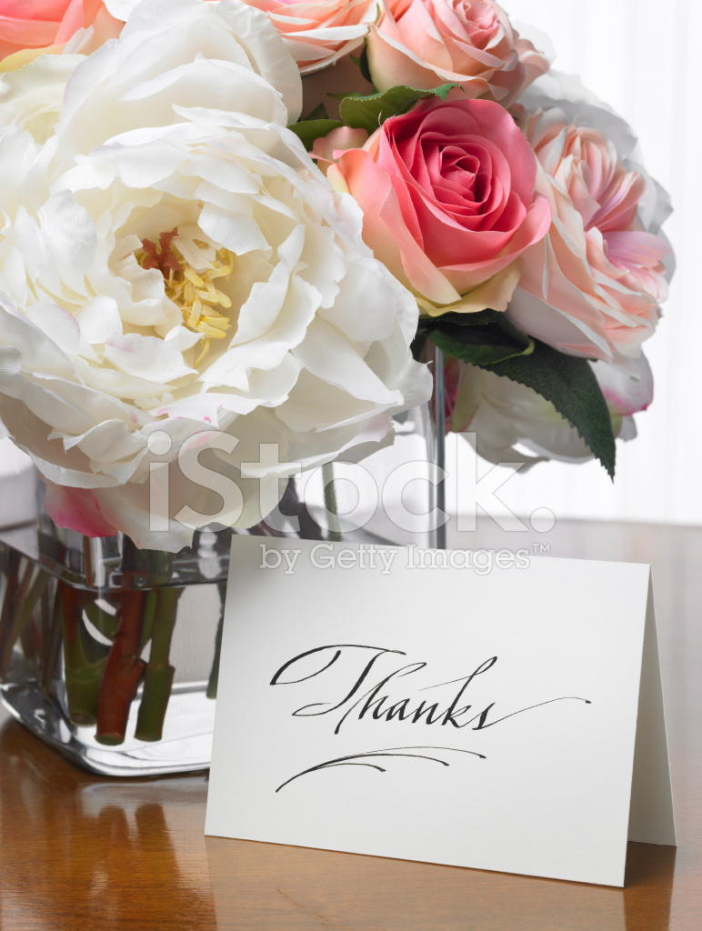 Thanks Card With Flower Bouquet Stock Photos - FreeImages.com