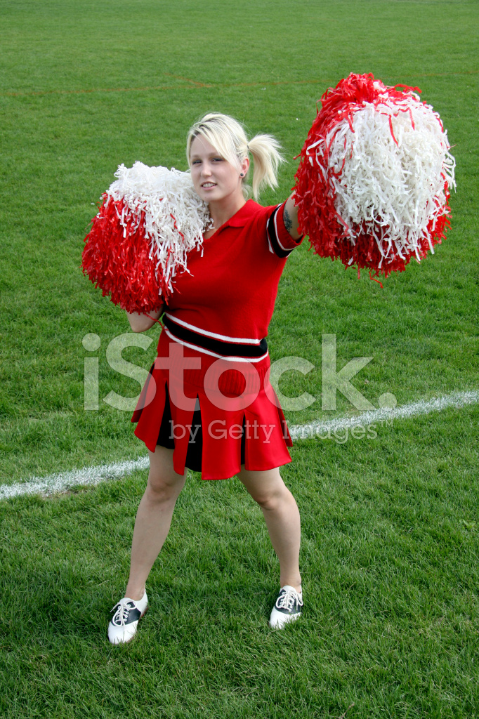 cheerleader with pom poms stock photos. Black Bedroom Furniture Sets. Home Design Ideas