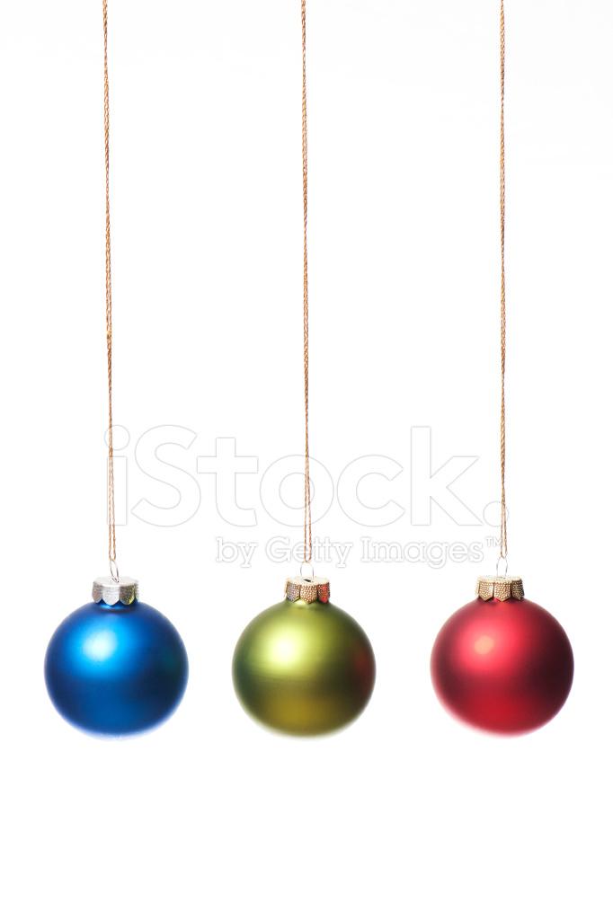 Christmas balls in a row vertical stock photos