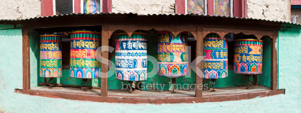 Colorful Tibetan Buddhist Prayer Wheels Everest Base Camp Trail