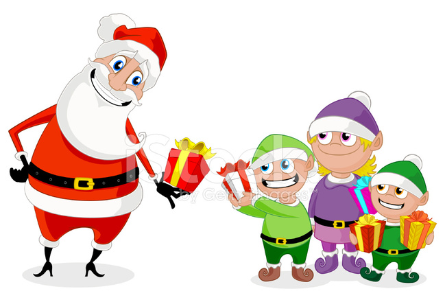 santa and his elves exchanging christmas gifts stock Santa Claus Vector Santa Claus Vector