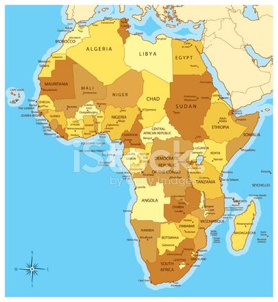 Carte Afrique Avec Pays.Carte D Afrique Avec Les Pays Et Les Villes Stock Vector