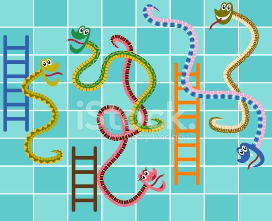 Juego De Mesa De Serpientes Y Escaleras Stock Vector Freeimages Com