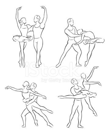 Dibujo Lineal DE Bailarines DE Ballet 1 fotografas de stock