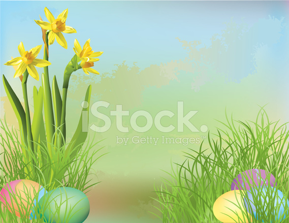 easter egg hunt background with daffodils