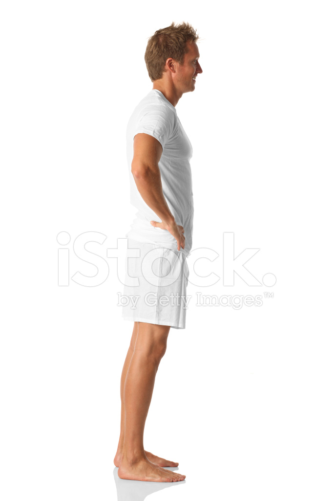 Side View Man Standing In Boxer Shorts Stock Photos