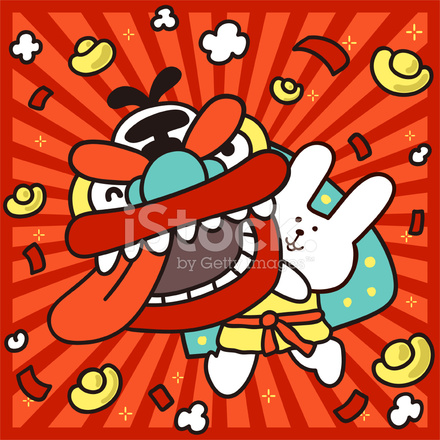 Happy Chinese New Year Des Kaninchens Löwe Tanzen Stock Vector ...