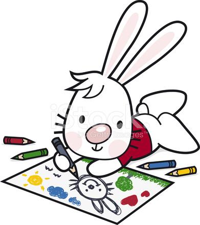 çizim çocuklar Karikatür Tavşan Boya Ile Renkli Kalemler Stock