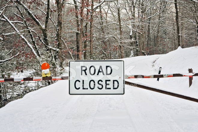 Road Closed Sign IN Winter Snow Stock Photos - FreeImages.com