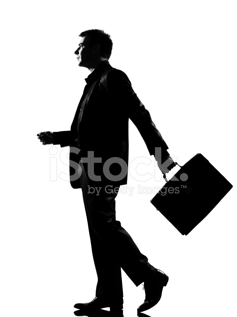 Silhouette Business Man Walking Profile With Briefcase ...
