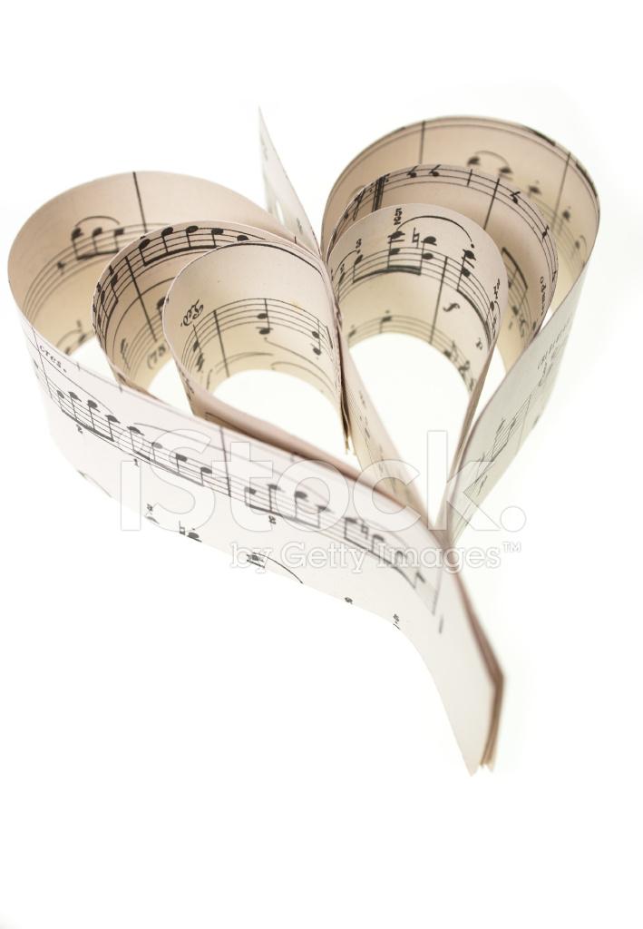 De Notas Musicales En Forma De Corazón Fotografías De Stock