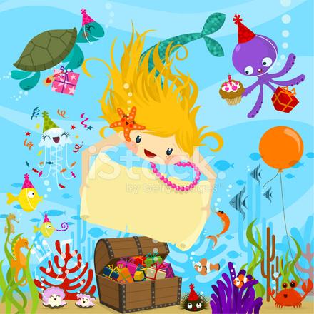 Deniz Kızı Doğum Günün Kutlu Davetiye Vektör çizim Stock Vector