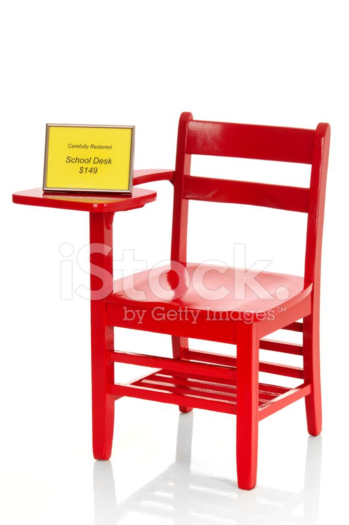 restored red school desk for sale stock photos. Black Bedroom Furniture Sets. Home Design Ideas