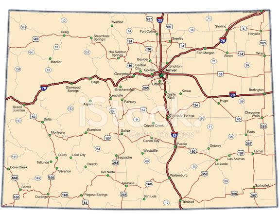 Mapa DE Carreteras DE Colorado Vector Stock Vector FreeImagescom - Mapa de colorado usa