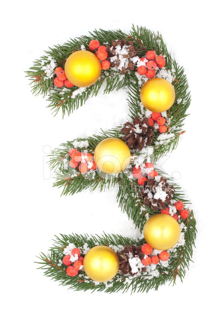 Number 3 Christmas Tree Decoration Stock Photos
