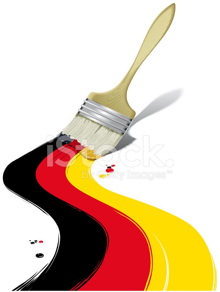 Almanya Bayrağı Boyama Boya Fırçası Stock Vector Freeimagescom