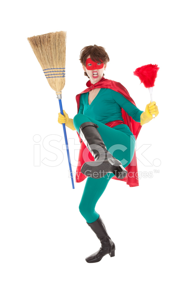 Red Lady Painting Cleaning