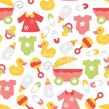 Retro Baby Girl Seamless Pattern Background stock photos ...