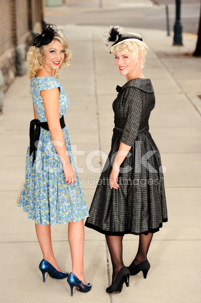 Premium Stock Photo of Two Lovely Ladies IN 1940 s Dresses and Hats Outdoors e0d0a146eea