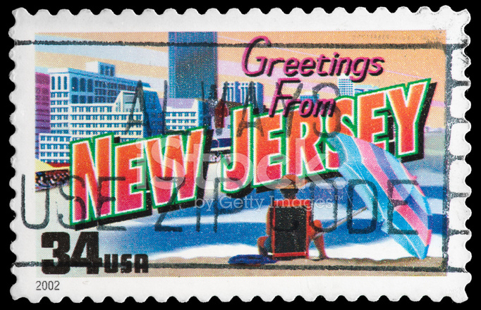 New Jersey State Stamp Greetings From America Retro Postkarte T