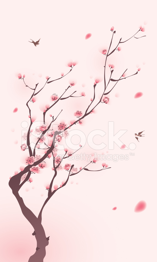 Oriental Style Painting Cherry Blossom In Spring Stock