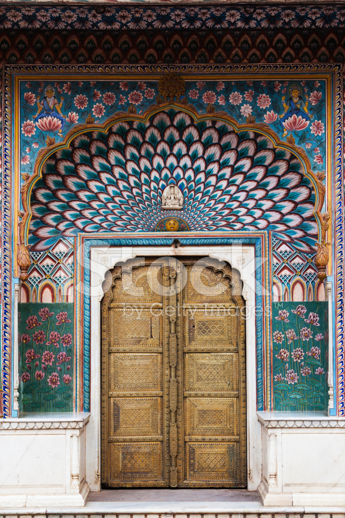 Jaipur City Palace Entrance Door Peacock Painting Stock