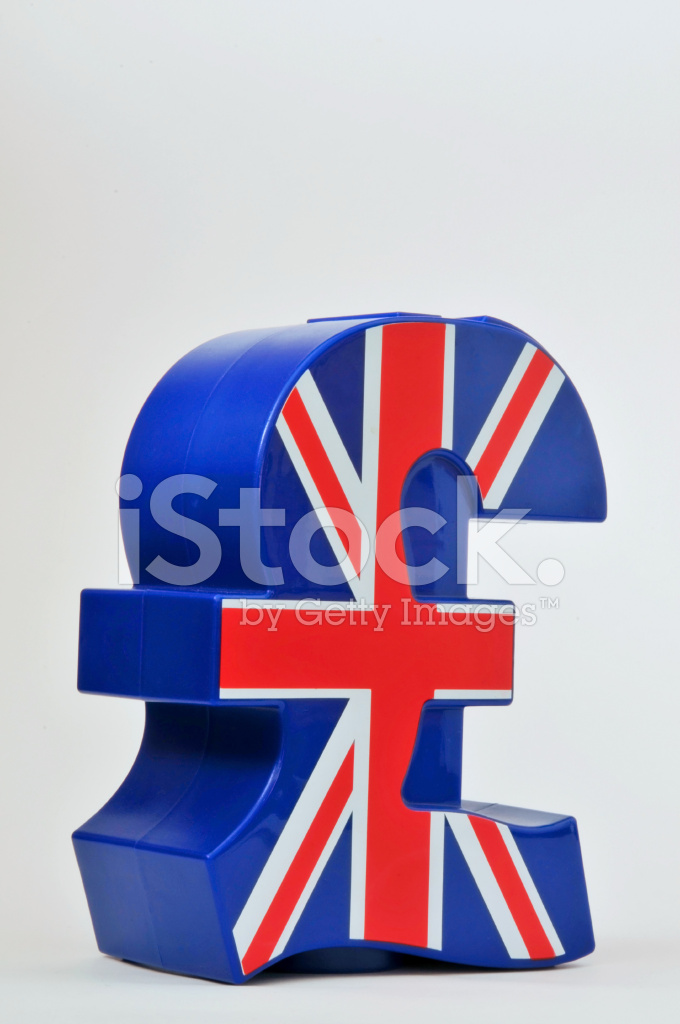 Uk Pound Sterling Symbol And Union Jack Flag Stock Photos