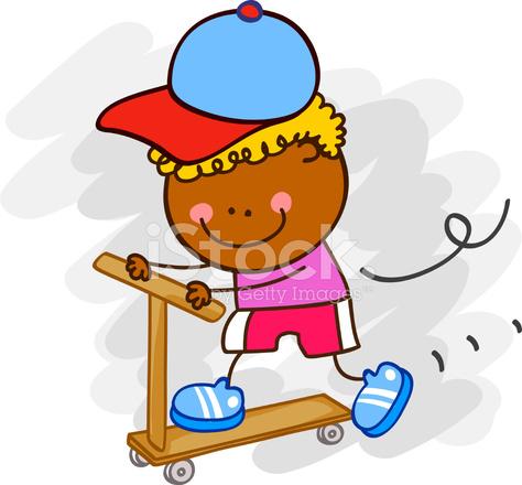 Garçon Noir Sur L Illustration De Dessin Animé De Skateboard Stock