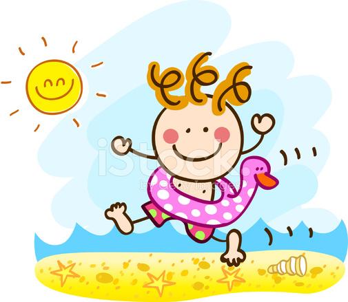 Vacaciones DE Verano Feliz Mar Corriente Niño Nadar Dibujos ...