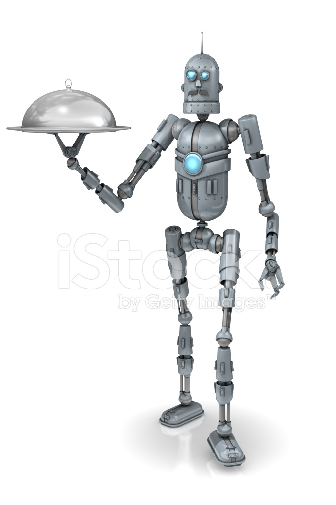 Old Fashioned Robot White Background