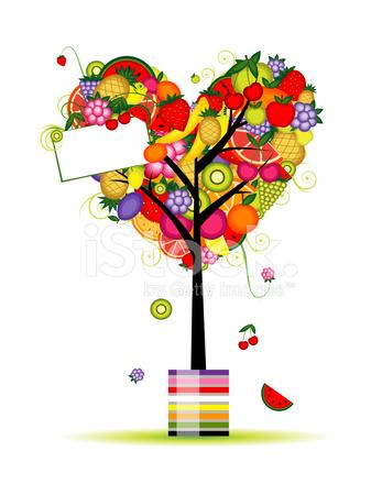 árbol De Frutas En Forma De Corazón Para Su Diseño Stock Vector